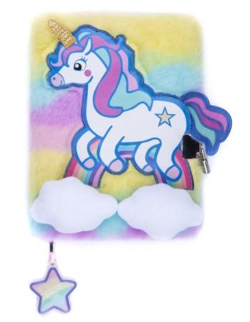 Diario segreto di peluche 3D Unicorn rainbow vista frontale