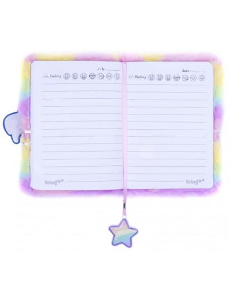 Diario segreto di peluche 3D Unicorn rainbow vista pagine interne