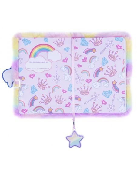Diario segreto di peluche 3D Unicorn rainbow vista prima pagina