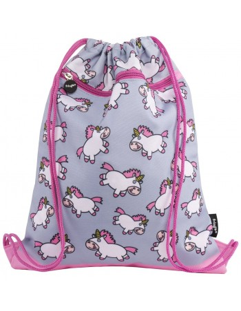 sacca con tasca frontale Chubby Unicorn fringoo vista frontale