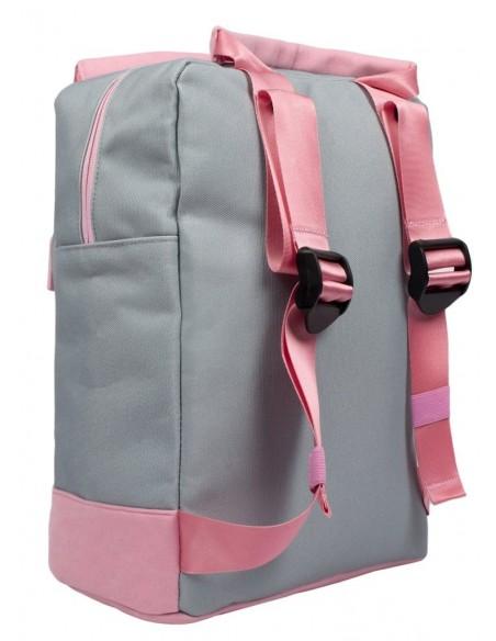 zaino teen fringoo grigio e rosa vista posteriore