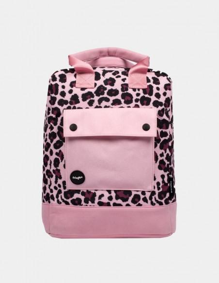 zaino teen fringoo rosa leopardato vista frontale