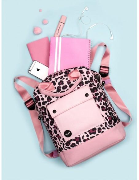 zaino teen fringoo rosa leopardato vista ambientazione