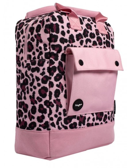 zaino teen fringoo rosa leopardato vista laterale