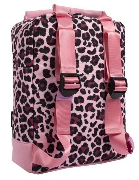 zaino teen fringoo rosa leopardato vista posteriore
