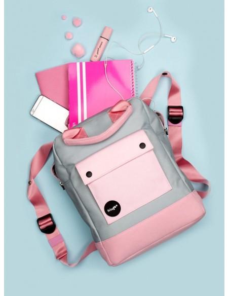 zaino teen fringoo grigio e rosa vista ambientazione