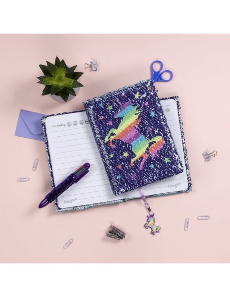 diario con penna di paillettes unicorn rainbow fringoo vista emozionale