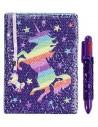 diario con penna di paillettes unicorn rainbow fringoo vista frontale