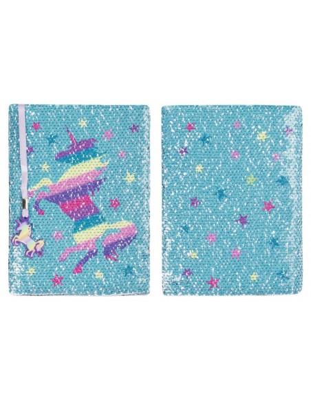 diario con penna di paillettes unicorn rainbow fringoo vista fronte retro bis