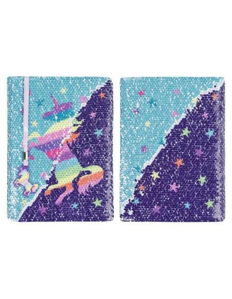 diario con penna di paillettes unicorn rainbow fringoo vista fronte retro ter