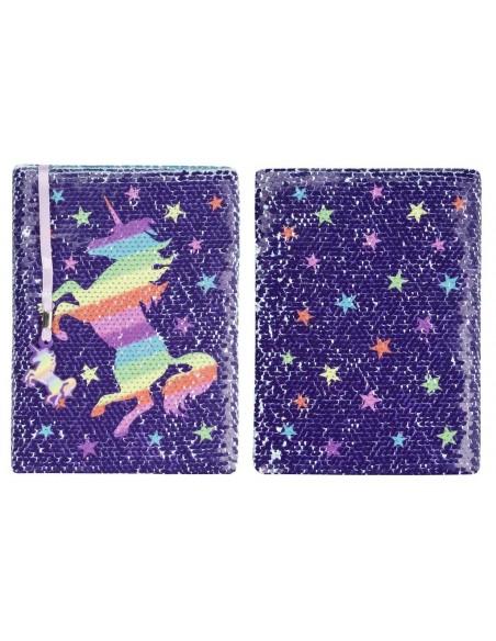diario con penna di paillettes unicorn rainbow fringoo vista fronte retro