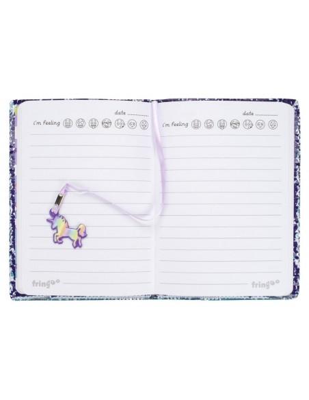 diario con penna di paillettes unicorn rainbow fringoo vista pagine interne
