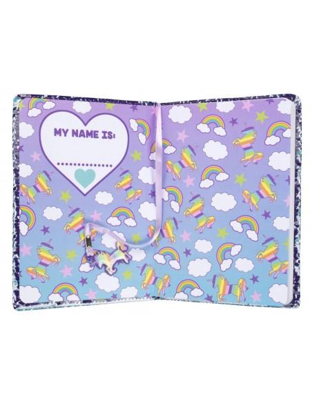 diario con penna di paillettes unicorn rainbow fringoo vista prima pagina