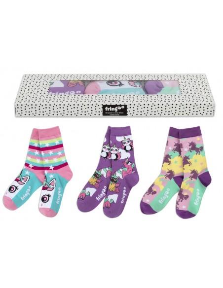 calzini gift box unicorn theme fringoo vista confezione e calzini