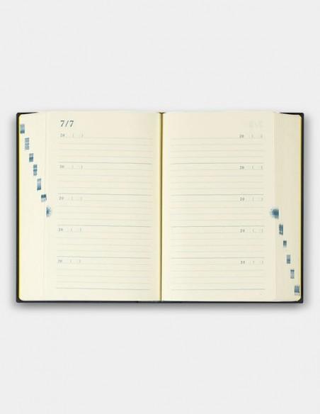 Agenda giornaliera Midori 10 anni blu vista aperta