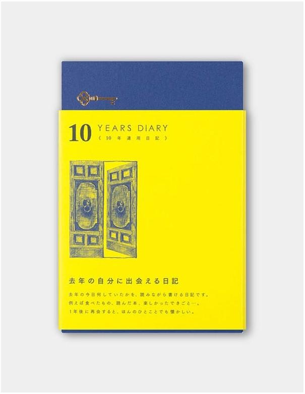 Agenda giornaliera Midori 10 anni blu vista confezione