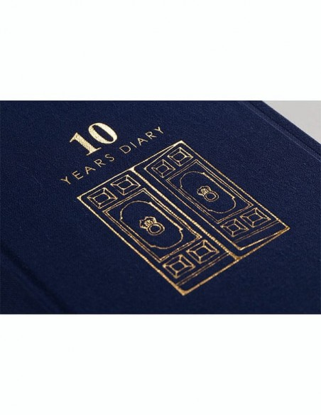 Agenda giornaliera Midori 10 anni blu vista dettaglio della copertina
