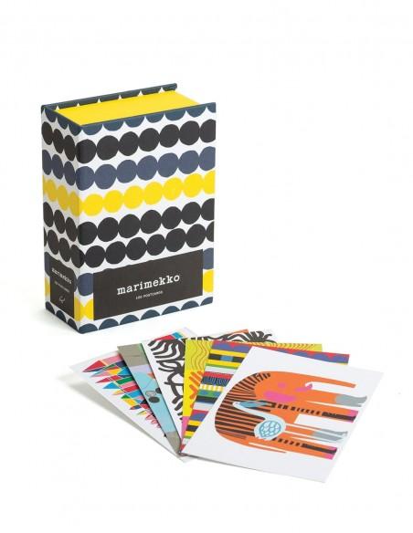 Marimekko 100 postcards vista d'insieme cofanetto e cartoline