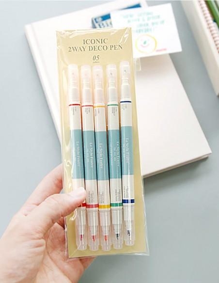 Set evidenziatori 5 colori doppia punta Deco Iconic confezione