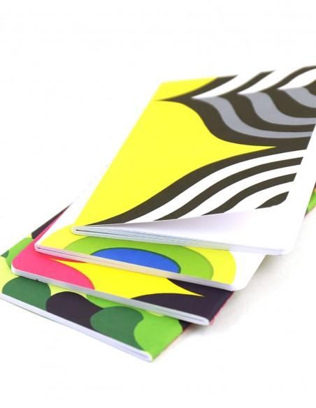 Set di taccuini Marimekko Mini Journal vista dei quattro quaderni ravvicinata