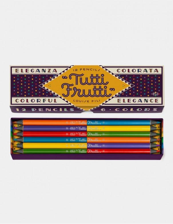 Set di matite colorate Louise Fili serie Tutti Frutti scatola aperta