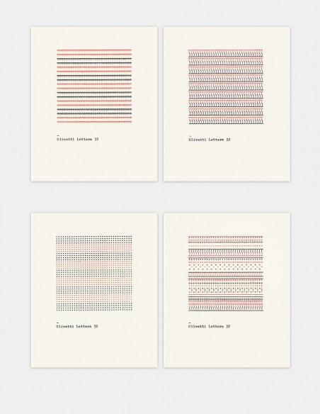 Biglietti Olivetti Pattern Series i quattro pattern che decorano le notecards vista frontale