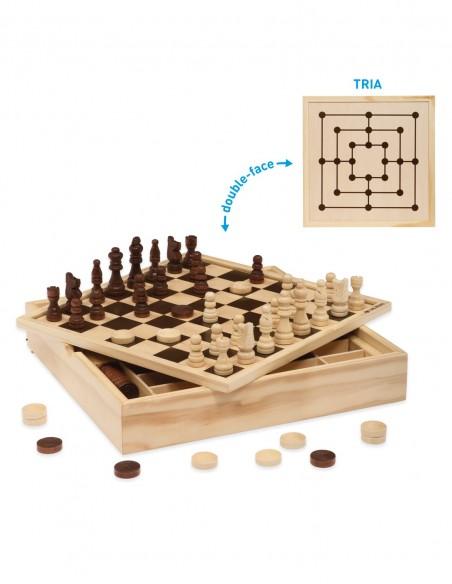 Giochi classici Scacchi Dama Tria Top 30 centimetri in legno Dal Negro contenuto scatola