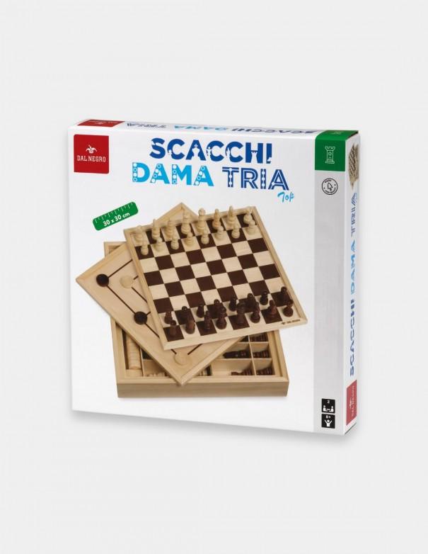 Giochi classici Scacchi Dama Tria Top 30 centimetri in legno Dal Negro foto confezione