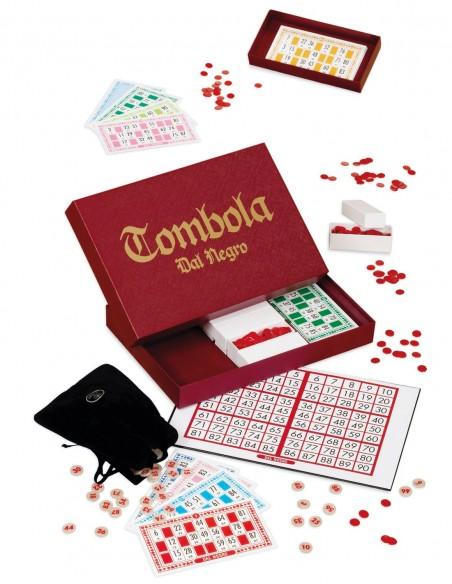 Tombola Classica Dal Negro Cofanetto rosso vista completa con tabellone e cartelle