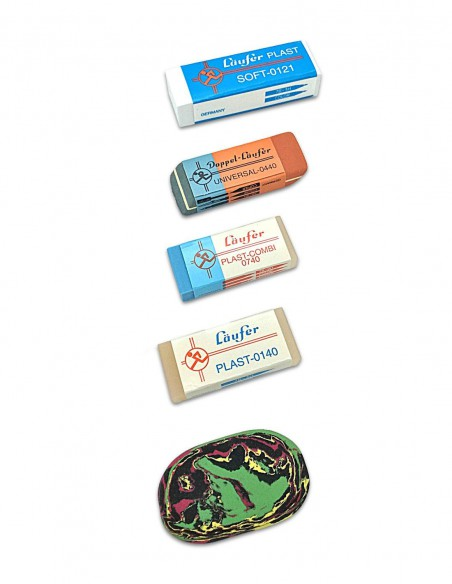 Il Kit del Cancellatore Läufer lebez confezione da 5 gomme in plastica ed in caucciù - vista gomme