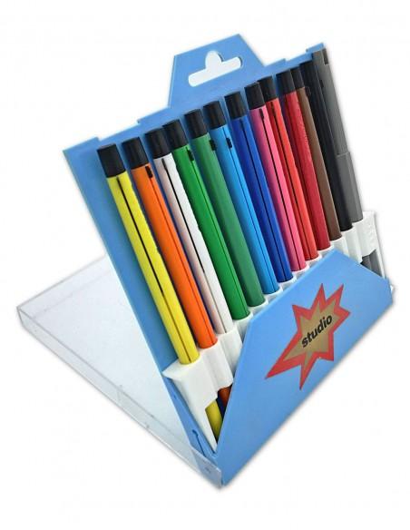 Cofanetto di 12 pastelli meccanici colorati con portamine  e temperamina Studio 4010 Koh-I-Noor Vintage vista astuccio aperto