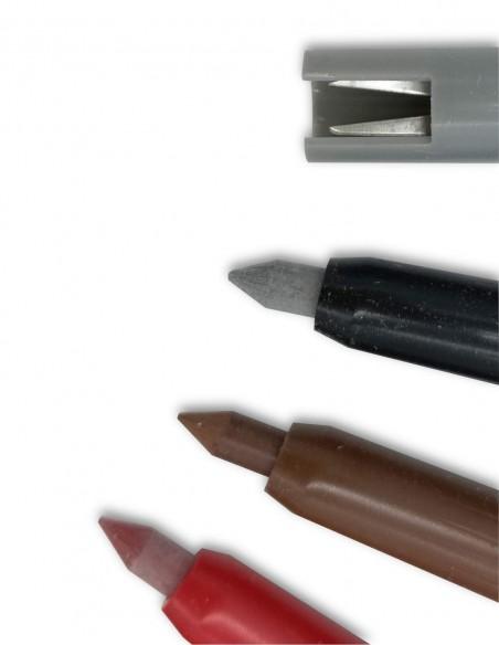 Cofanetto di 12 pastelli meccanici  colorati con portamine  e temperamina Studio 4010 Koh-I-Noor Vintage dettaglio punte