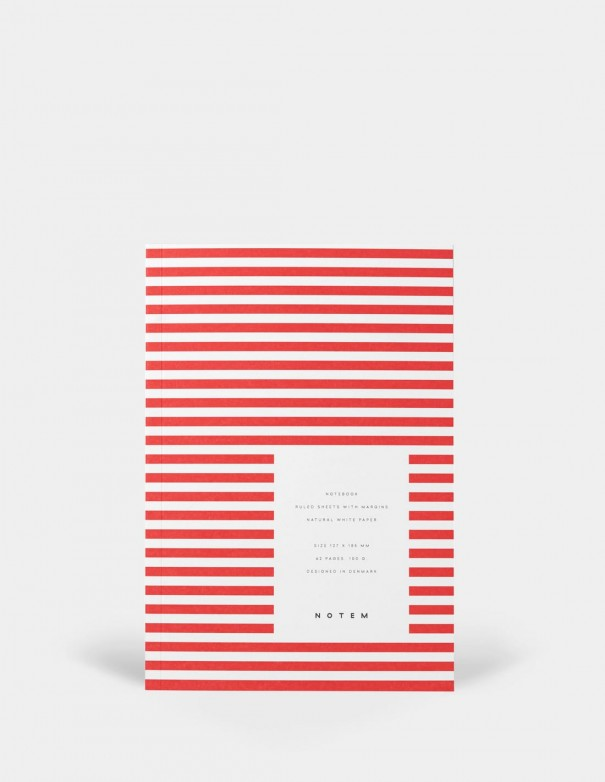Quaderno notebook di Notem Studio collezione Vita dimensione small copertina a righe rosse