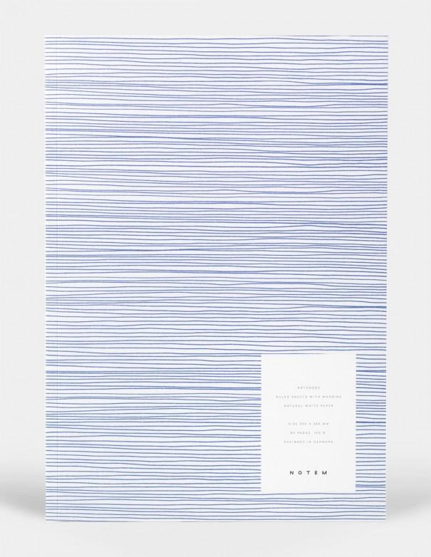 Quaderno collezione Vita di Notem Studio formato Large con copertina geometrica a linee blu - Midnight Blue