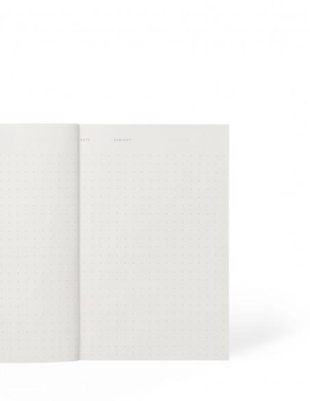 Quaderno notebook di Notem Studio collezione Vita dimensione small aperto con pagine a puntini