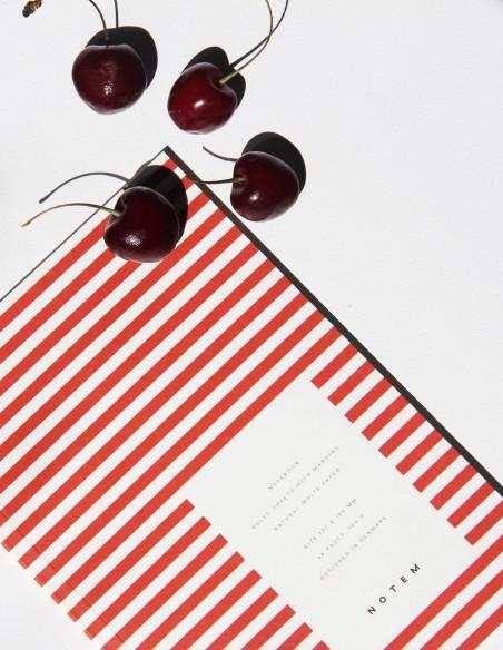 Quaderno notebook di Notem Studio collezione Vita dimensione small copertina a righe rosse vista still life