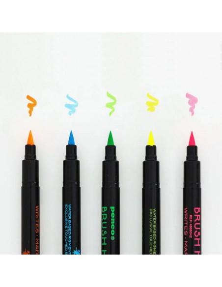 Evidenziatori Brush Highwriter set da cinque colori fluorescenti Penco con punta a pennello