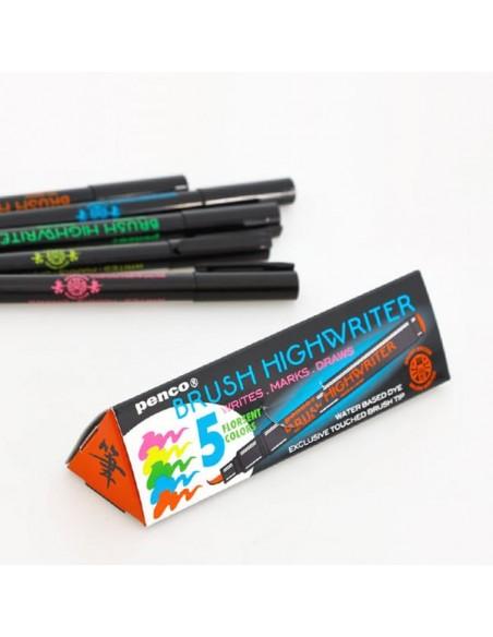 Evidenziatori Brush Highwriter set da cinque colori fluorescenti Penco con punta a pennello in packaging coordinato