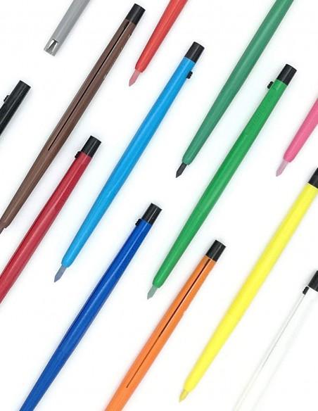 Cofanetto di 12 pastelli meccanici colorati con portamine  e temperamina Studio 4010 Koh-I-Noor Vintage vista colori sparsi