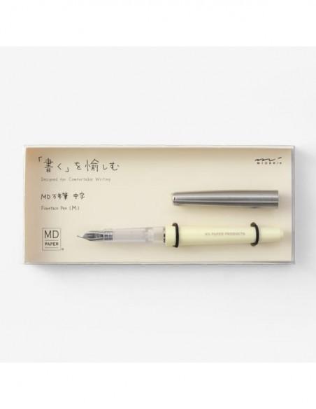 Penna stilografica minimalista MD Paper color crema, punta M, confezione