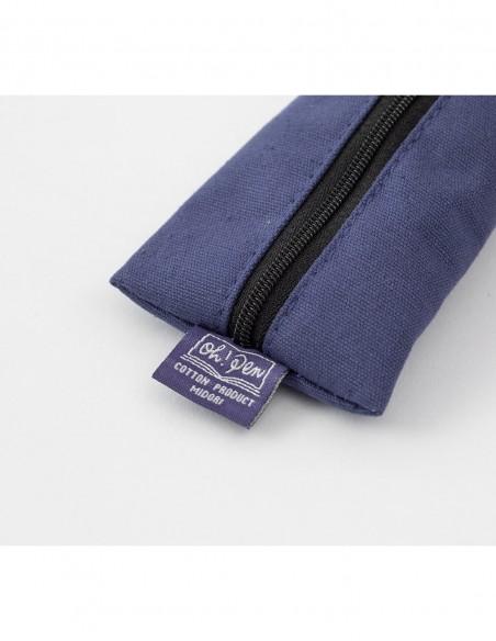 Astuccio morbido in tela canvas blu di Midori, lato piatto con etichetta