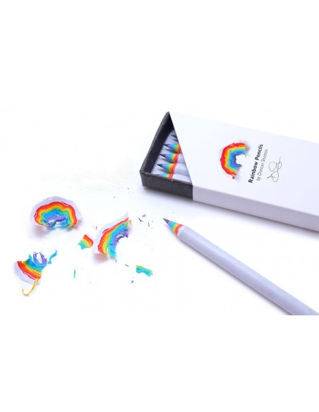 Matite arcobaleno Duncan Shotton rainbow pencil colore bianco confezione 5 pezzi con trucioli