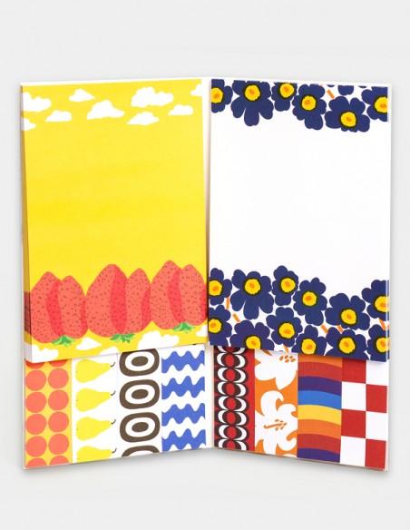 Set portfolio con Memo e segnapagina di Marimekko, vista interna dei pads con 10 design differenti