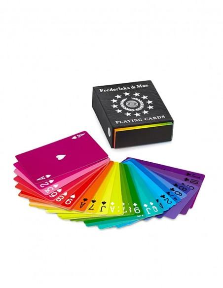 Mazzo di carte da gioco francesi arcobaleno di design carte sul tavolo