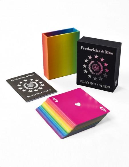 Mazzo di carte da gioco francesi arcobaleno di design scatola aperta