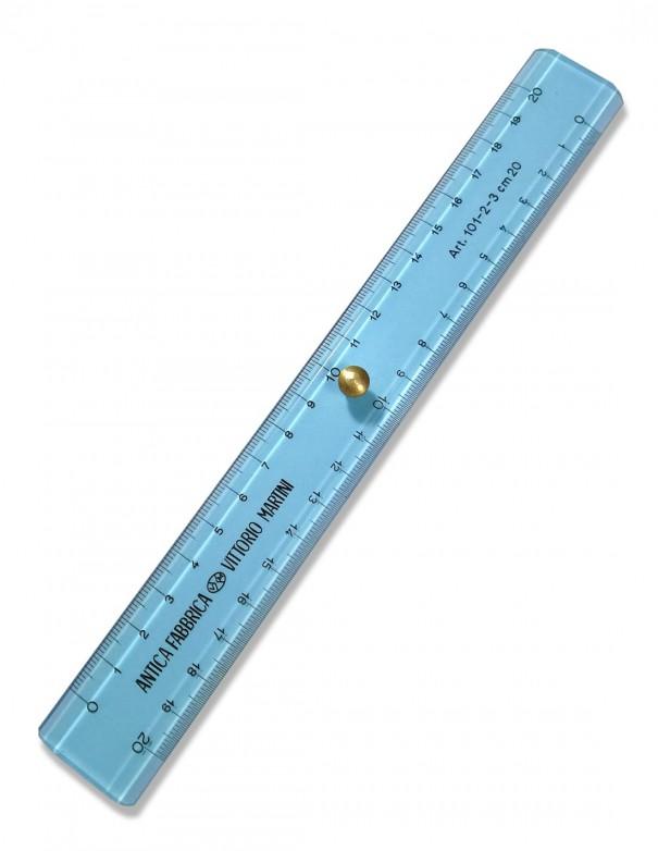 righello doppio decimetro 20 cm antica fabbrica vittorio martini colore azzurro