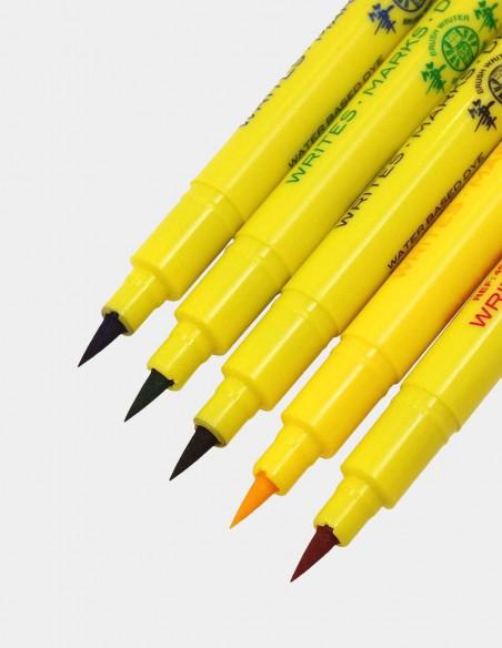 Colori a pennello Brush Writer Penco confezione 5 pezzi vista punte
