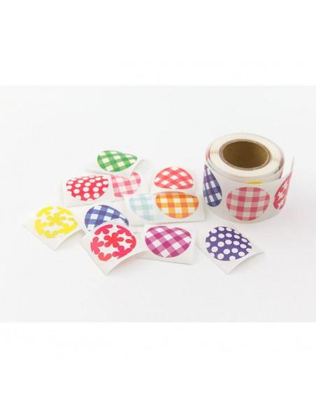 adesivi chiudi pacco in rotolo Midori Chotto Roll Stickers Colorful Circles vista generale