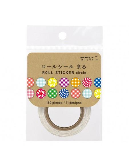 adesivi chiudi pacco in rotolo Midori Chotto Roll Stickers Colorful Circles vista frontale