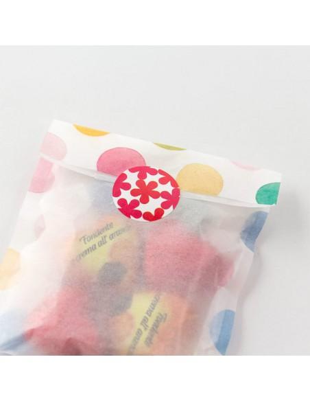 adesivi chiudi pacco in rotolo Midori Chotto Roll Stickers Colorful Circles in uso